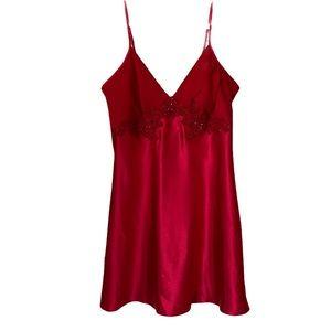 Vintage Jessica Bias Satin Negligee lace &bead trim M NWOT